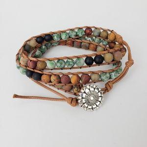 Natural stone wrap chakra bracelet flower clasp